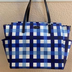 Kate Spade Blue Gingham Diaper Bag EUC